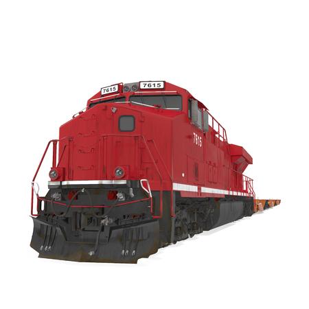 Cargo train on white. 3D illustration