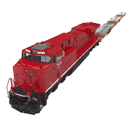 Railroad Locomotive with Heavy Duty Flat Cars on white. 3D illustration