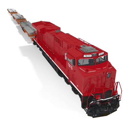 heavy duty: Cargo train with heavy duty flat cars on white. 3D illustration