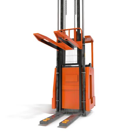 Orange industrial fork lifter for cargo transport isolated on white. 3D illustration Stock Photo