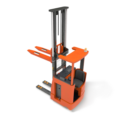 Orange industrial fork lifter for cargo transport isolated on white. 3D illustration Stock Photo
