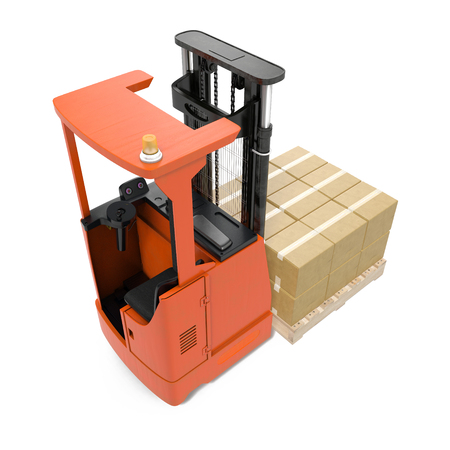 Orange industrial fork lifter for cargo isolated on white. 3D illustration