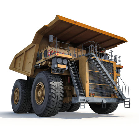 Heavy yellow mining truck on white background. 3D illustration Stock Photo