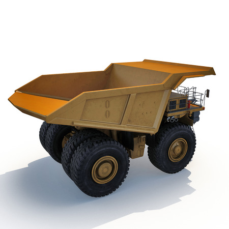 Heavy yellow mining truck on white background. 3D illustration Stock Photo