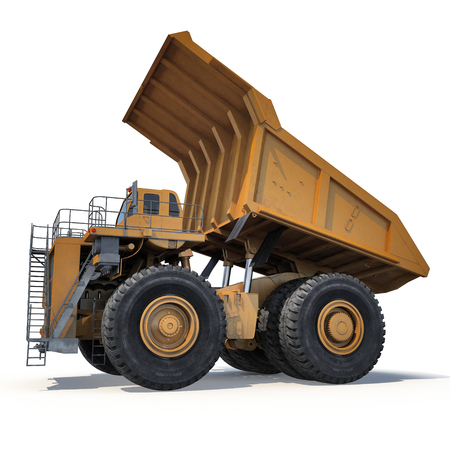 Very big dump-body truck on white background. 3D illustration Stock Photo
