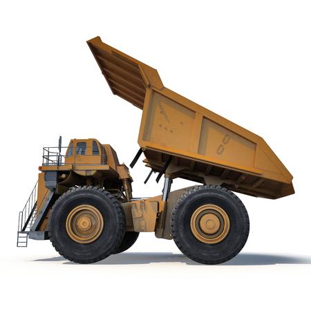 Heavy mining dump truck on white background. Side view. 3D illustration Stock Photo