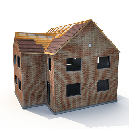 building site: New house under construction on white background. 3D illustration