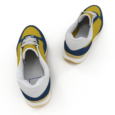 convenient: Convenient for sports mens sneakers in dark blue thick fabric. Presented on a white background. Rear view. 3D illustration Stock Photo