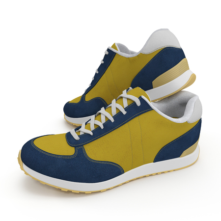 Convenient for sports mens sneakers on white background