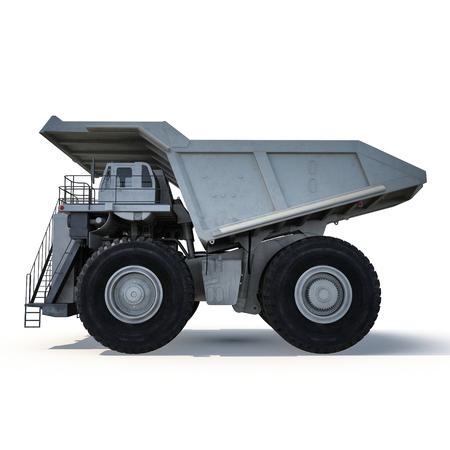 Heavy mining dump truck on white. Side view. 3D illustration Stock Photo