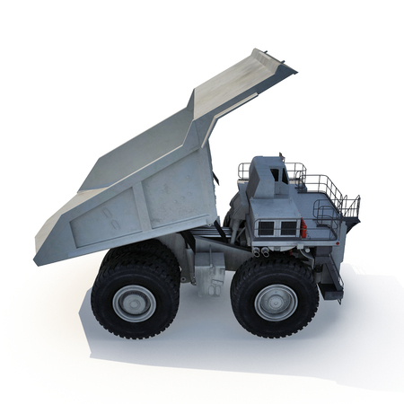 industrial machinery: Large haul truck ready for big job in a mine. On white background. 3D illustration Stock Photo