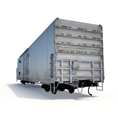 refrigerated: Old mechanically refrigerated wagon on white background. 3D illustration