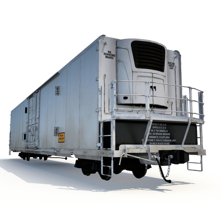 refrigerated: Railroad Refrigerator Car on white background. 3D illustration Stock Photo