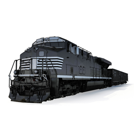 Railroad Locomotive with Hopper Cars on white background. 3D illustration Stock Photo