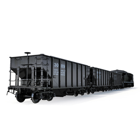 bogie: Cargo train on white background. 3D illustration