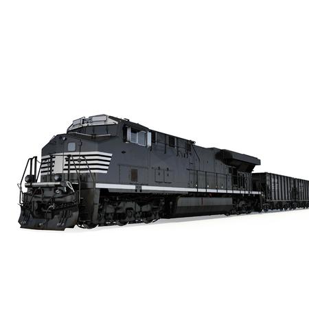 Locomotive and freight wagon on white background. 3D illustration Stock Photo