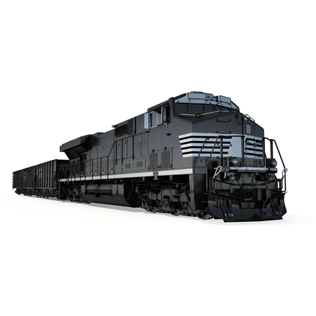 bogie: Railroad Locomotive with Hopper Cars on white background. 3D illustration Stock Photo