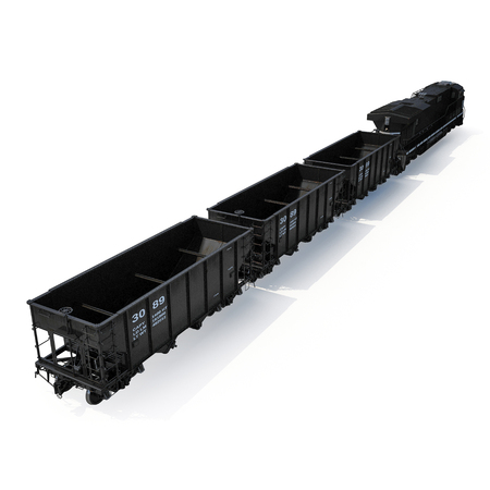 Cargo train with bogie Hopper Wagon on white. 3D illustration Stock Photo