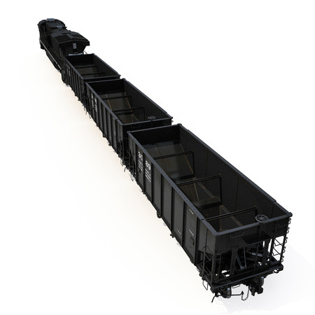 Freight train with hopper cars on white. 3D illustration