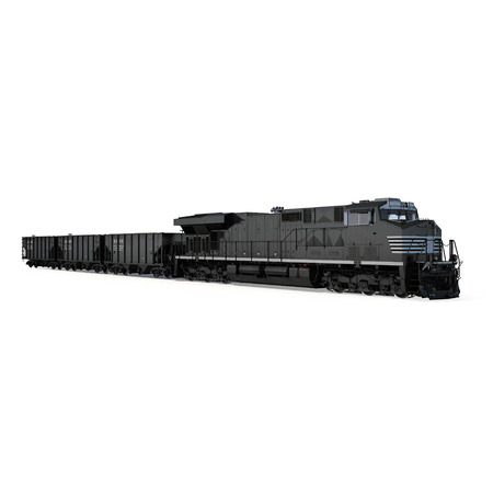 hopper: Cargo train on white background. 3D illustration