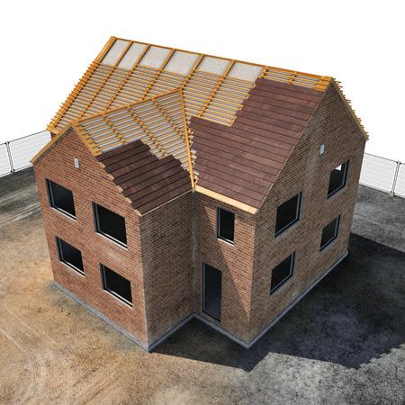 Nuova casa in costruzione su sfondo bianco. Angolo da in alto. Illustrazione 3D