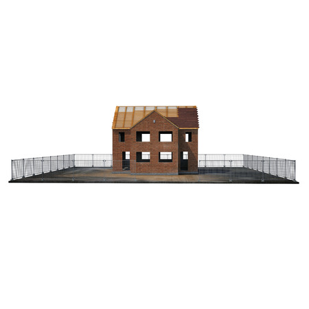 Private House Construction on white background. Side view. 3D illustration Stock Photo