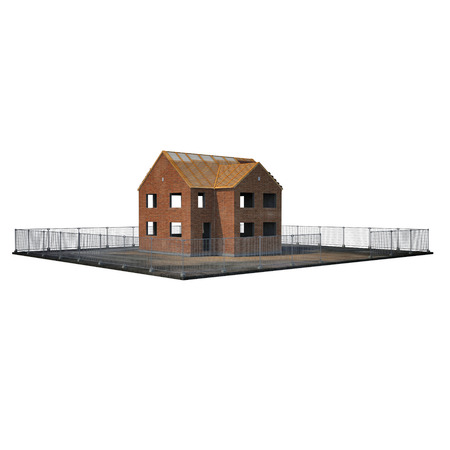 unfinished building: Private House Construction on white background. 3D illustration Stock Photo