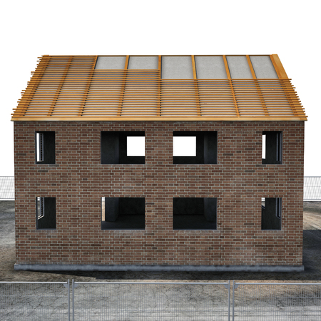 building site: New house under construction on white. Side view. 3D illustration Stock Photo