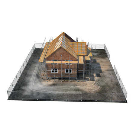 New home being built with bricks on white background. 3D illustration Stock Photo