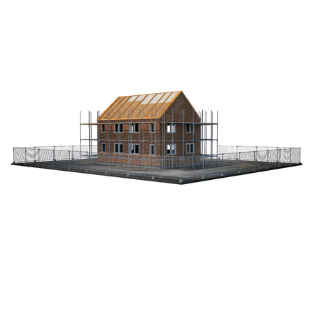 unfinished building: New home being built with bricks on white background. 3D illustration Stock Photo