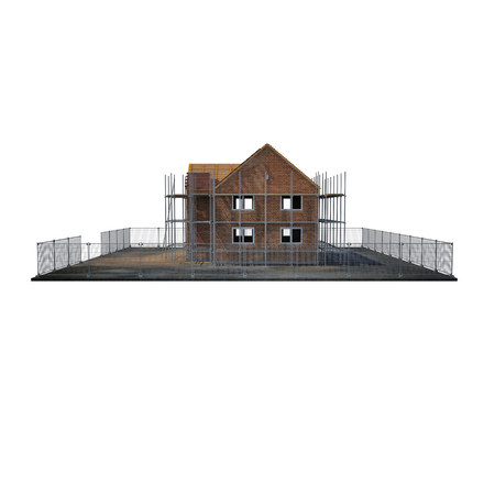 building site: construction of private houses of brick on white background. Side view. 3D illustration