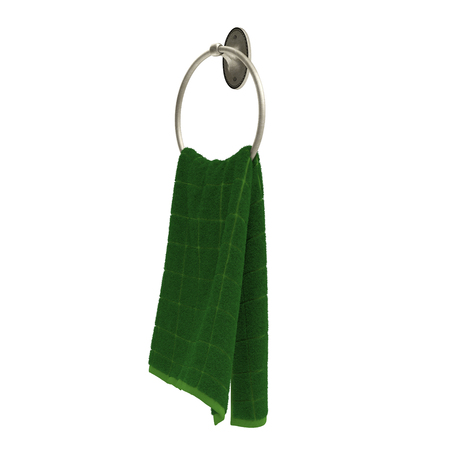 Ring towel holder with green towel isolated on white. 3D illustration Stock Photo