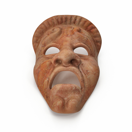 stage costume: Theatre Masks Set Red Marble on white. 3D illustration