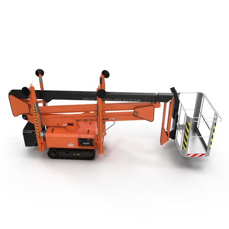 Mobile aerial work platform - Orange scissor hydraulic self propelled lift on a white background. Side view. 3D illustration