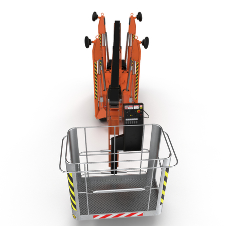 Large orange extended scissor lift platform on white background. Front view. 3D illustration