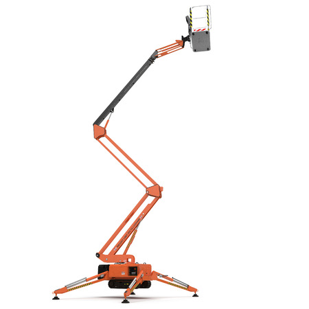 Extended scissor lift on white background. 3D illustration