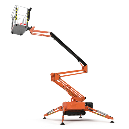 large orange extended scissor lift platform on white background. 3D illustration