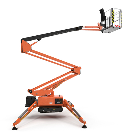 Mobile aerial work platform - Orange scissor hydraulic self propelled lift on a white background. Side view. 3D illustration
