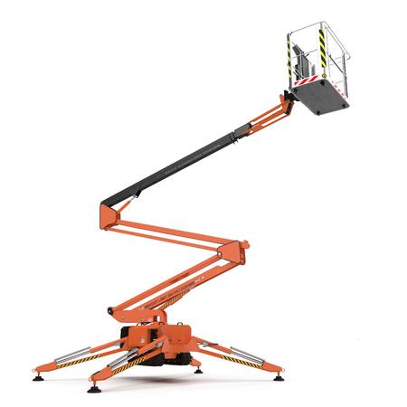 large orange extended scissor lift platform on white. 3D illustration
