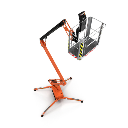 Engine Powered Scissor Lift on white background. Angle from up. 3D illustration