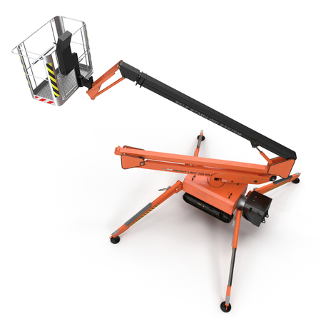 large orange extended scissor lift platform on white background. 3D illustration