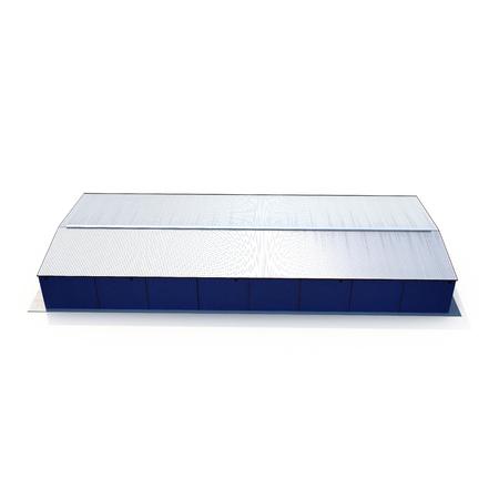 Blauw pakhuis dat op wit voortbouwt. 3D illustratie
