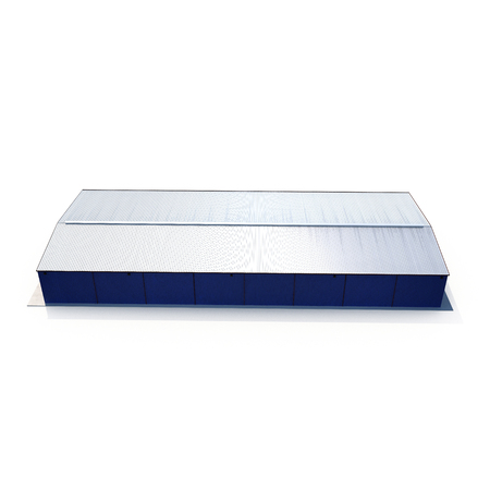 Blue warehouse building on white. 3D illustration Reklamní fotografie