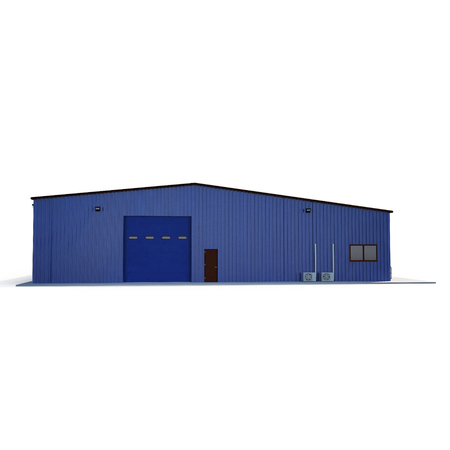 Blue metal Warehouse Building on white. 3D illustration Imagens