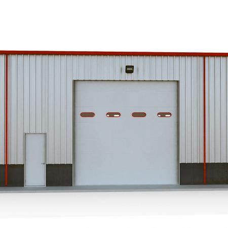 白いプレハブ鉄骨建物のガレージのドア。3 D イラストレーション