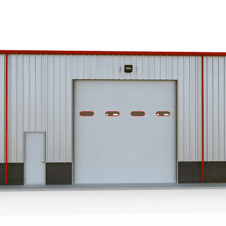 Prefab Steel Building garage door on white. 3D illustration