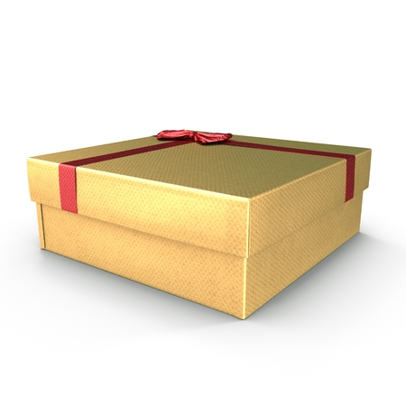 Present box with red overwhelming bow isolated on white. 3D illustration