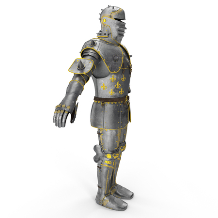 Full suit of Armour on white. 3D illustration Stock Photo