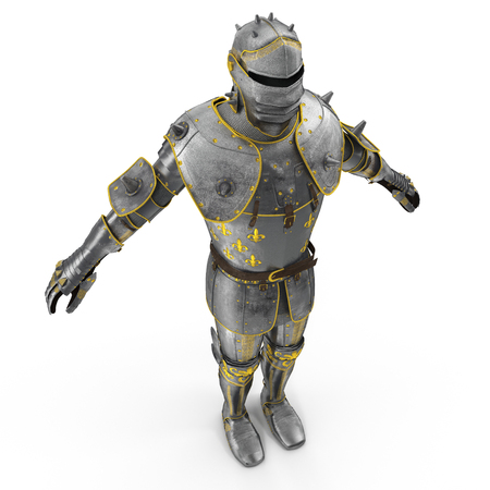 Isolated European Medieval Suit Of Armour or Armor With Helmet on white. 3D illustration Stock Photo