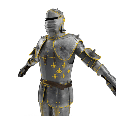 steel: Old suit of armour on white. 3D illustration